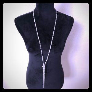 Jewelry - Silver Knotted Dangling Necklace with Clasp